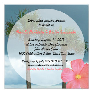 Tropical Beach Wedding Shower Personalized Invitation