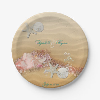 Tropical, Beach Wedding, Starfish, Lace, Pearls, Paper Plate