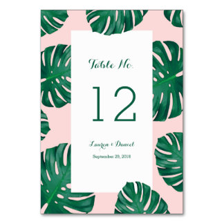 Tropical Beach Wedding Table Numbers Table Cards