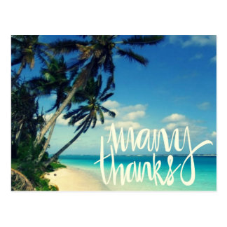 Tropical Beach Wedding Thank You Postcards