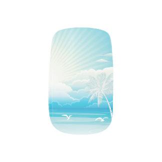 Tropical Beach Wedding White Minx Nail Art
