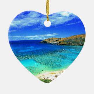 TROPICAL BEACH WISH YOU WERE HERE CUSTOM POSTCARD CERAMIC HEART ORNAMENT