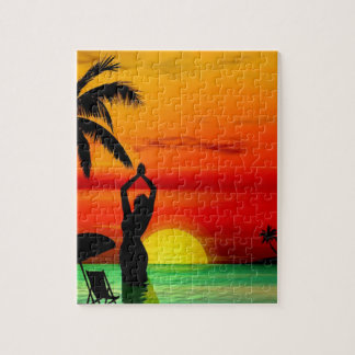 TROPICAL BEACH WISH YOU WERE HERE CUSTOM POSTCARD JIGSAW PUZZLE