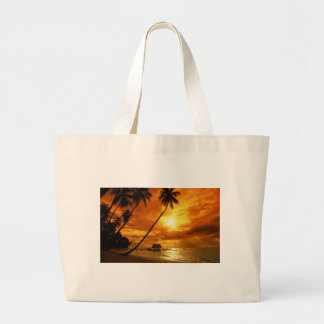 TROPICAL BEACH WISH YOU WERE HERE CUSTOM POSTCARD LARGE TOTE BAG