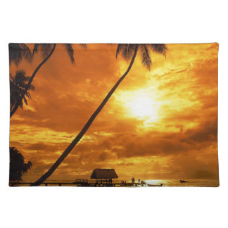 TROPICAL BEACH WISH YOU WERE HERE CUSTOM POSTCARD PLACEMAT