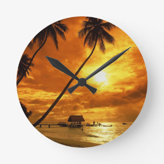 TROPICAL BEACH WISH YOU WERE HERE CUSTOM POSTCARD ROUND CLOCK