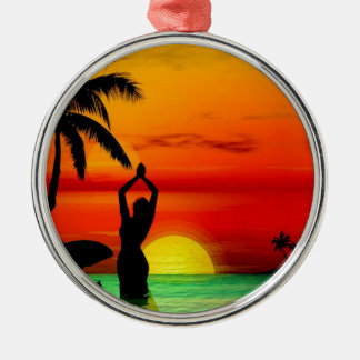 TROPICAL BEACH WISH YOU WERE HERE CUSTOM POSTCARD Silver-Colored ROUND ORNAMENT