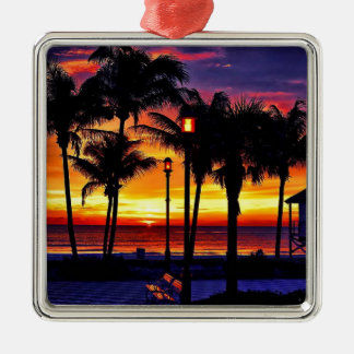 TROPICAL BEACH WISH YOU WERE HERE CUSTOM POSTCARD Silver-Colored SQUARE ORNAMENT