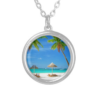 TROPICAL BEACH WISH YOU WERE HERE CUSTOM POSTCARD SILVER PLATED NECKLACE