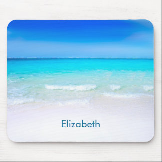 Tropical Beach with a Turquoise Sea Custom Mouse Pad