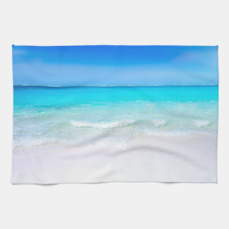 Tropical Beach with a Turquoise Sea Kitchen Towel