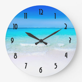 Tropical Beach with a Turquoise Sea Large Clock