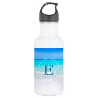 Tropical Beach with a Turquoise Sea Monogram 532 Ml Water Bottle