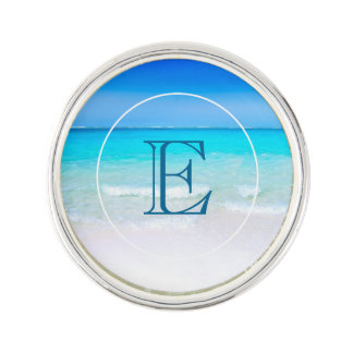 Tropical Beach with a Turquoise Sea Monogram Lapel Pin