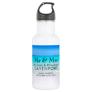 Tropical Beach with a Turquoise Sea Wedding 532 Ml Water Bottle