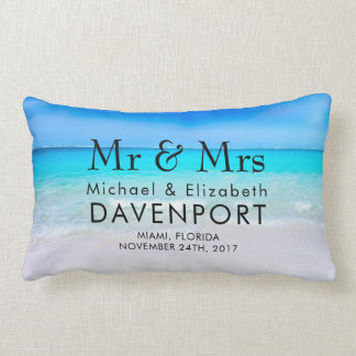Tropical Beach with a Turquoise Sea Wedding Lumbar Pillow