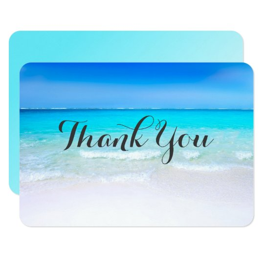 Tropical Beach with a Turquoise Sea Wedding Thanks Card