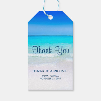 Tropical Beach with a Turquoise Sea Wedding Thanks Gift Tags