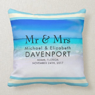 Tropical Beach with a Turquoise Sea Wedding Throw Pillow