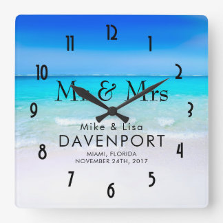 Tropical Beach with a Turquoise Sea Wedding Wallclocks