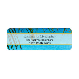 Tropical Beach with Palm Fronds Return Address Label