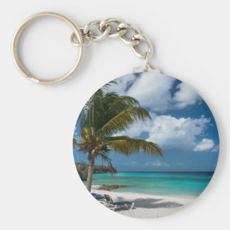 Tropical Beach with Palm Tree Basic Round Button Keychain