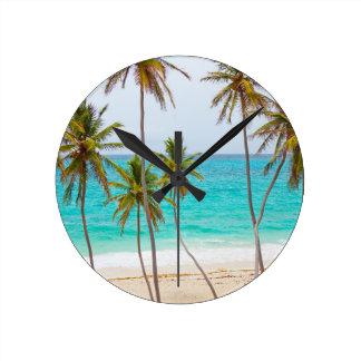 Tropical Beach with Palm Tree Round Clock