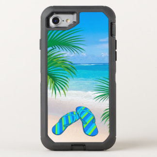 Tropical Beach with Palm Trees and Flip Flops OtterBox Defender iPhone 8/7 Case