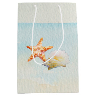 Tropical Beach with Starfish and Conch Medium Gift Bag