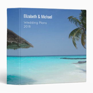 Tropical Beach with Thatched Umbrella Custom Binder