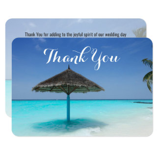 Tropical Beach with Thatched Umbrella Thank You Card