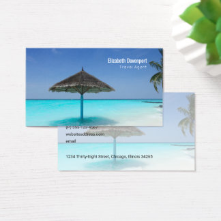 Tropical Beach with Thatched Umbrella Travel Business Card