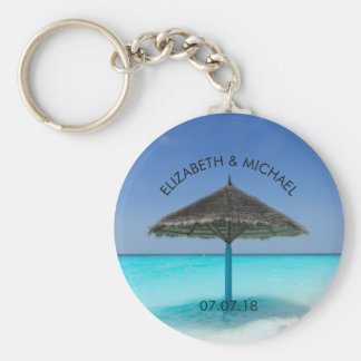 Tropical Beach with Thatched Umbrella Wedding Basic Round Button Keychain