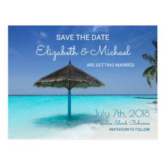 Tropical Beach with Thatched Umbrella Wedding STD Postcard