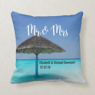 Tropical Beach with Thatched Umbrella Wedding Throw Pillow