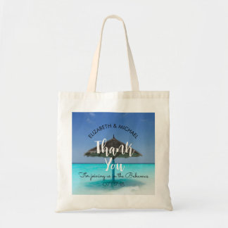 Tropical Beach with Thatched Umbrella Wedding Tote Bag