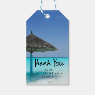 Tropical Beach with Umbrella Wedding Thanks Pack Of Gift Tags