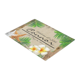 Tropical Beach Wood Style Doormat  | Zazzle