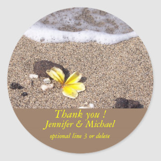 Tropical Beach Yellow Plumeria Classic Round Sticker