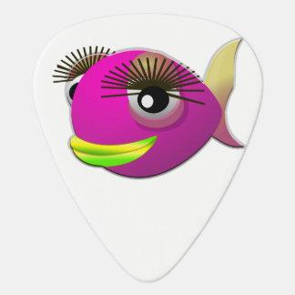 Tropical beautiful pink girl fish guitar pick