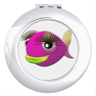 Tropical beautiful pink girl fish mirror for makeup