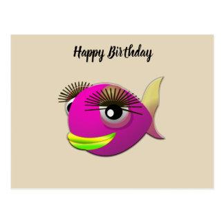 Tropical beautiful pink girl fish postcard