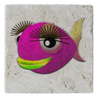 Tropical beautiful pink girl fish trivet