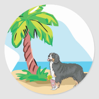 tropical bernese mountain dog round sticker