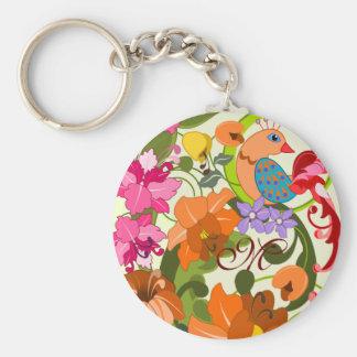 Tropical bird & Damask flowers Monogram Keychain