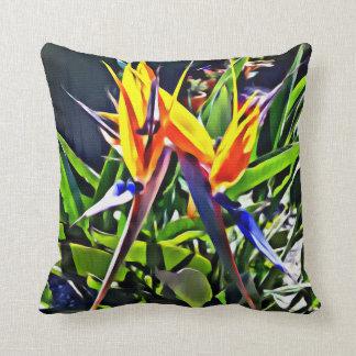 Tropical Bird of Paradise Cushion - Textured Look