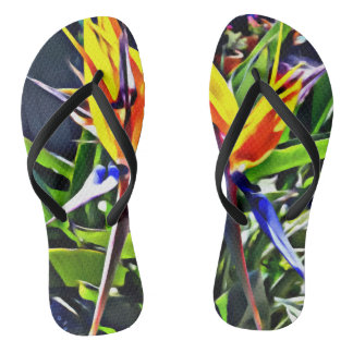 Tropical Bird of Paradise Flip Flops