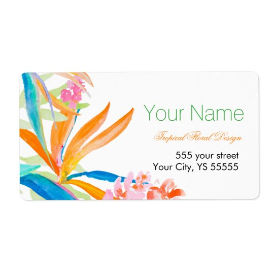 Tropical Bird of Paradise Watercolor Business Shipping Label