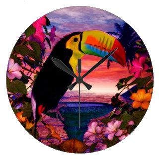 "Tropical Birds 2 ""Toucans"" Decor Large Clock"