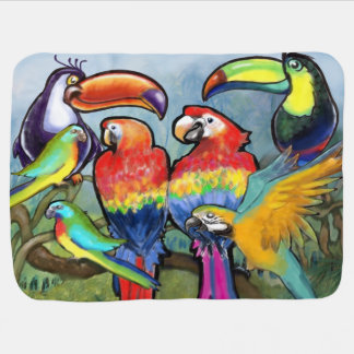 Tropical Birds Baby Blanket
